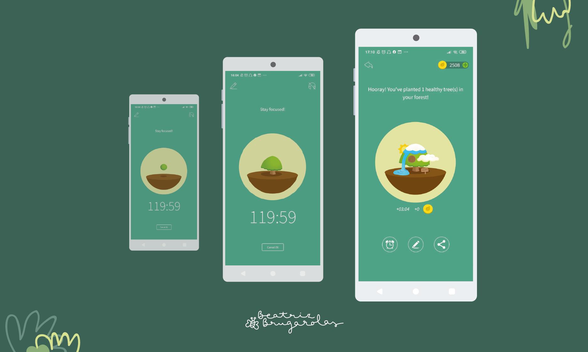 Aparecen tres pantallas de móvil mostrando la evolución del árbol desde que es una semilla y parece una bola de musgo hasta que desarrolla todos los atributos del diseño final.