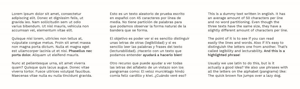 Texto Lorem Ipsum comparado con texto en español y texto en inglés