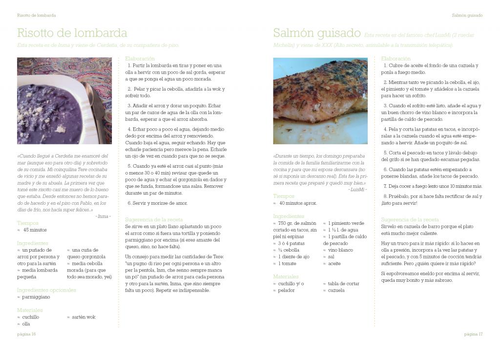 muestra de dos páginas de un libro de cocina familiar