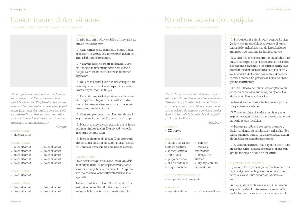 muestra del mismo libro pero con textos en lorem ipsum y con El Quijote.